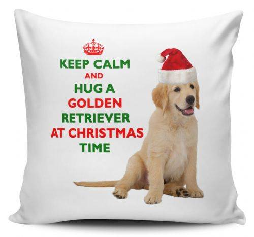Christmas Keep Calm And Hug A Golden Retriever Novelty Cushion Cover